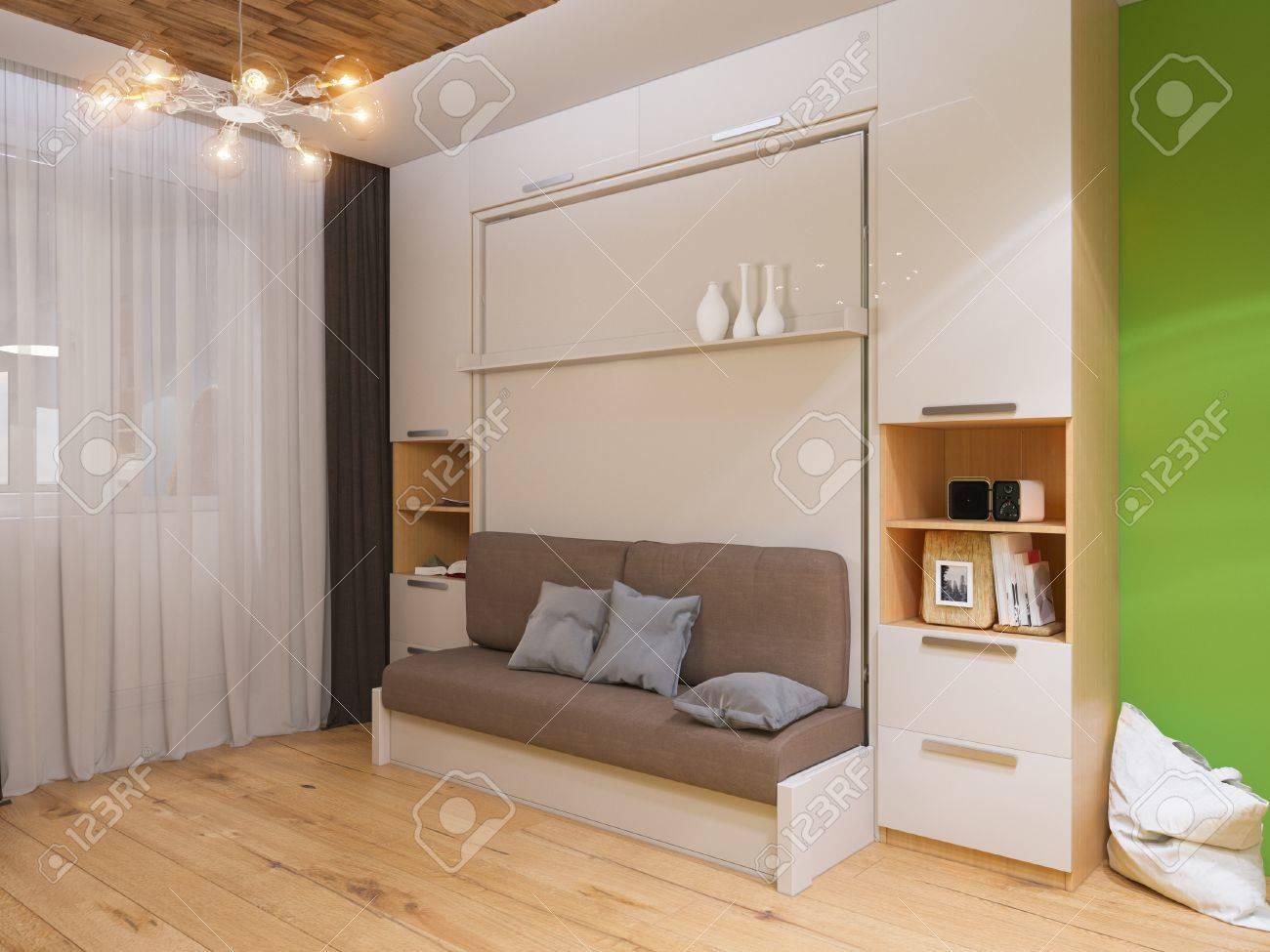 Armadio Con Letto.3d Illustrazione Di Interior Design Soggiorno Con Letto Armadio Interni E Realizzato In Stile Moderno E Minimalista
