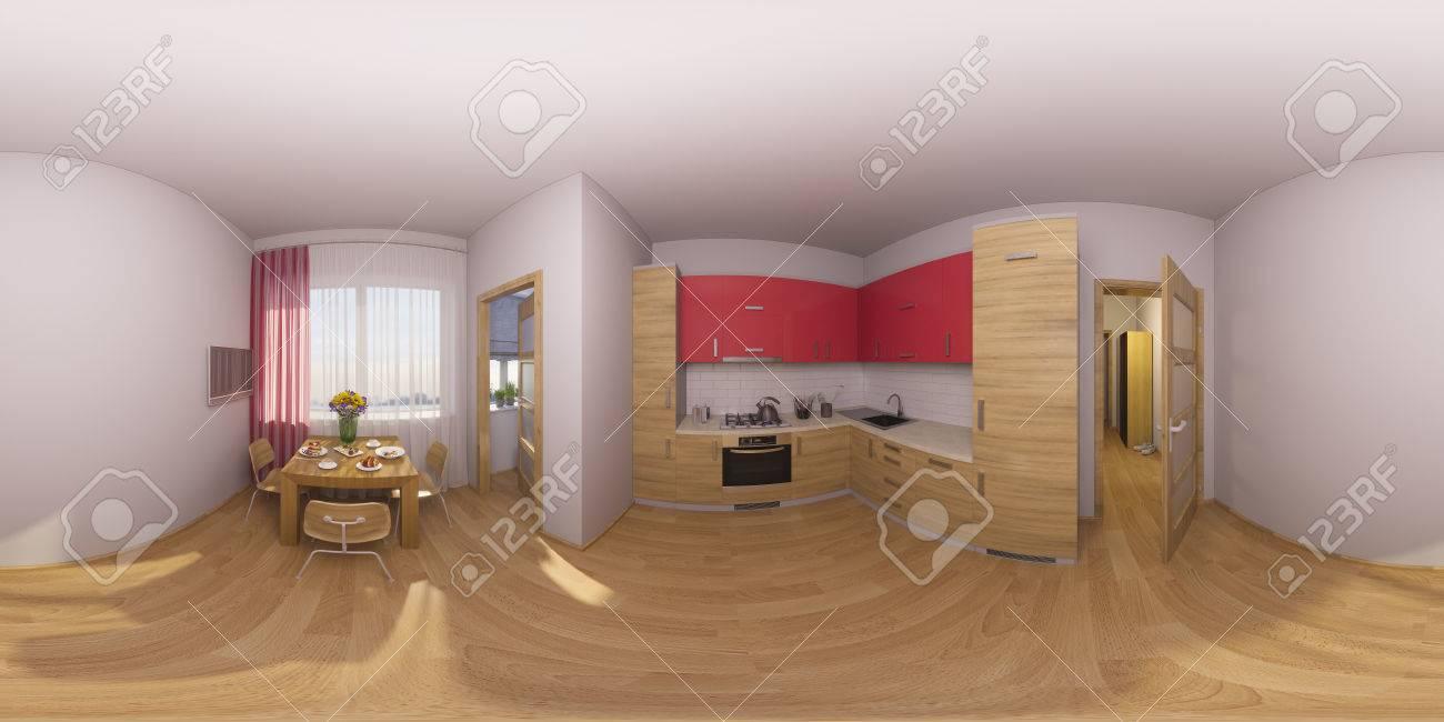 3d Darstellung 360 Grad Panorama Einer Kuche Interieur Lizenzfreie