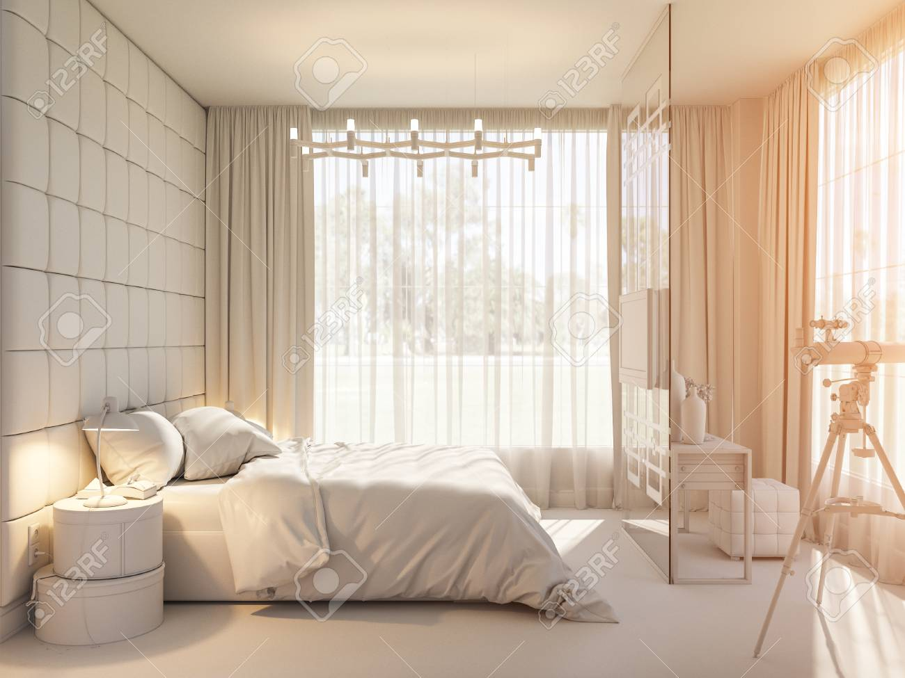 3d Illustration Of An Interior Design Of A Bedroom In Scandinavian Stock Photo Picture And Royalty Free Image Image 78225003
