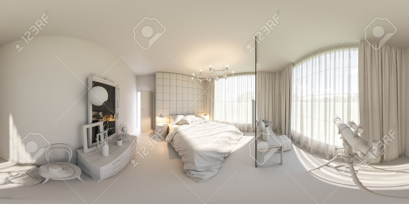 3d Illustration Spherical 360 Degrees Seamless Panorama Of  # Muebles Panorama