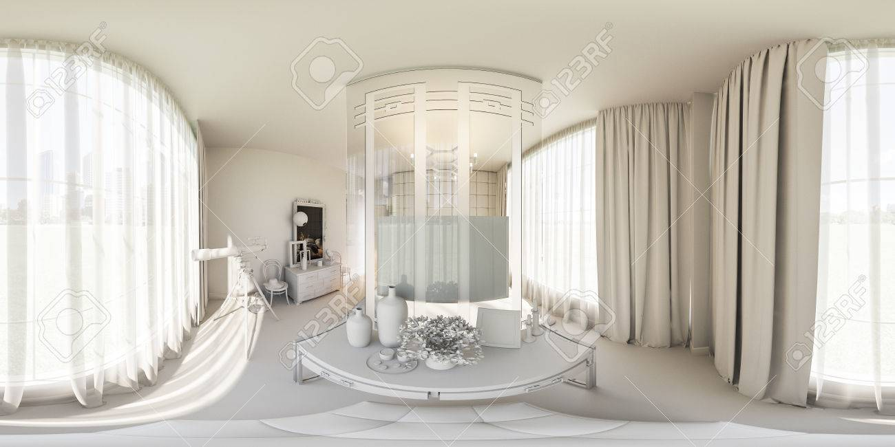 3d Illustration Spherical 360 Degrees, Seamless Panorama Of Bedroom Interior  Design. The Bedroom Is