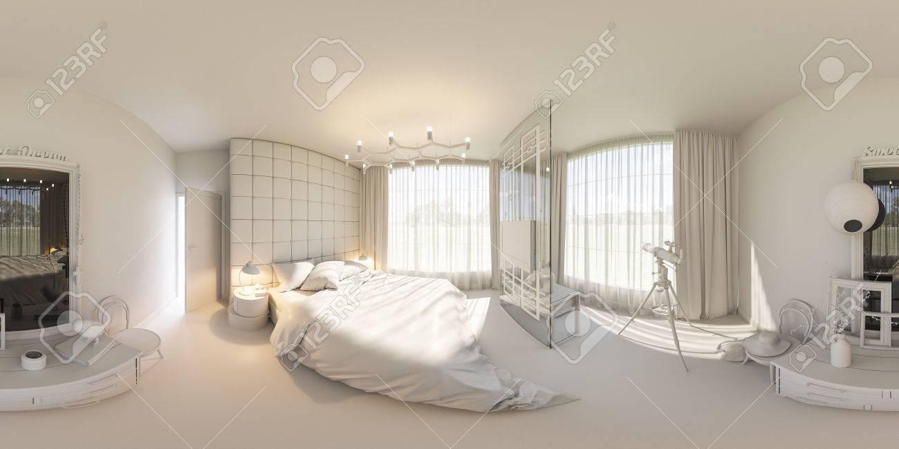 3d illustration sphérique 360 ??degrés, panorama sans couture de la  décoration intérieure de la chambre à coucher. La chambre est faite sans  textures ...