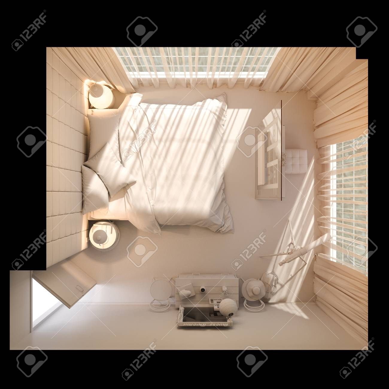 3d Illustration Of Bedroom Interior Design In A Modern Style Stock Photo Picture And Royalty Free Image Image 78416631