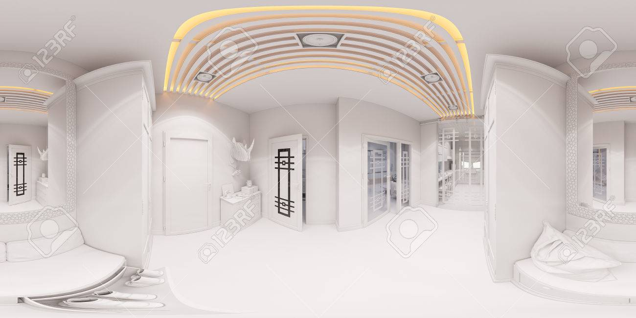 3d Illustration Hall Interior Design In Classic Style. Render Is Made,  Seamless 360 Degree