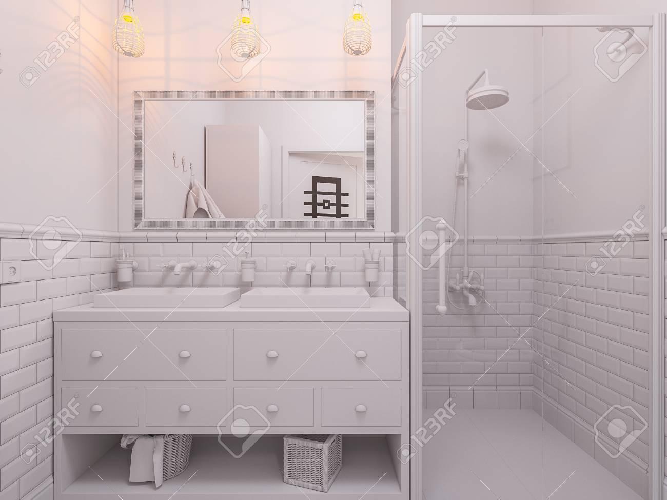3d Illustration Of A Design Bathroom Interior In Classic ...