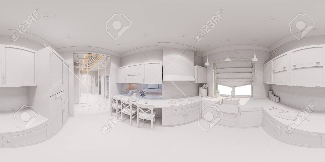 3d Illustration Of The Kitchen Interior Design In Scandinavian Stock Photo Picture And Royalty Free Image Image 79071259