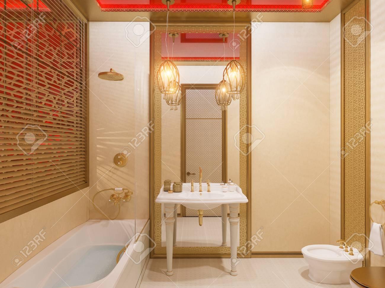 Illustration 3D, salle de bain design d\'intérieur d\'une chambre d\'hôtel  dans un style islamique traditionnel. Belle chambre de luxe Ramdan Kareem  vue ...