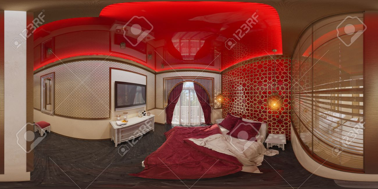 Grad, Nahtlose Panorama Von Schlafzimmer Hotelzimmer In Einem Traditionellen