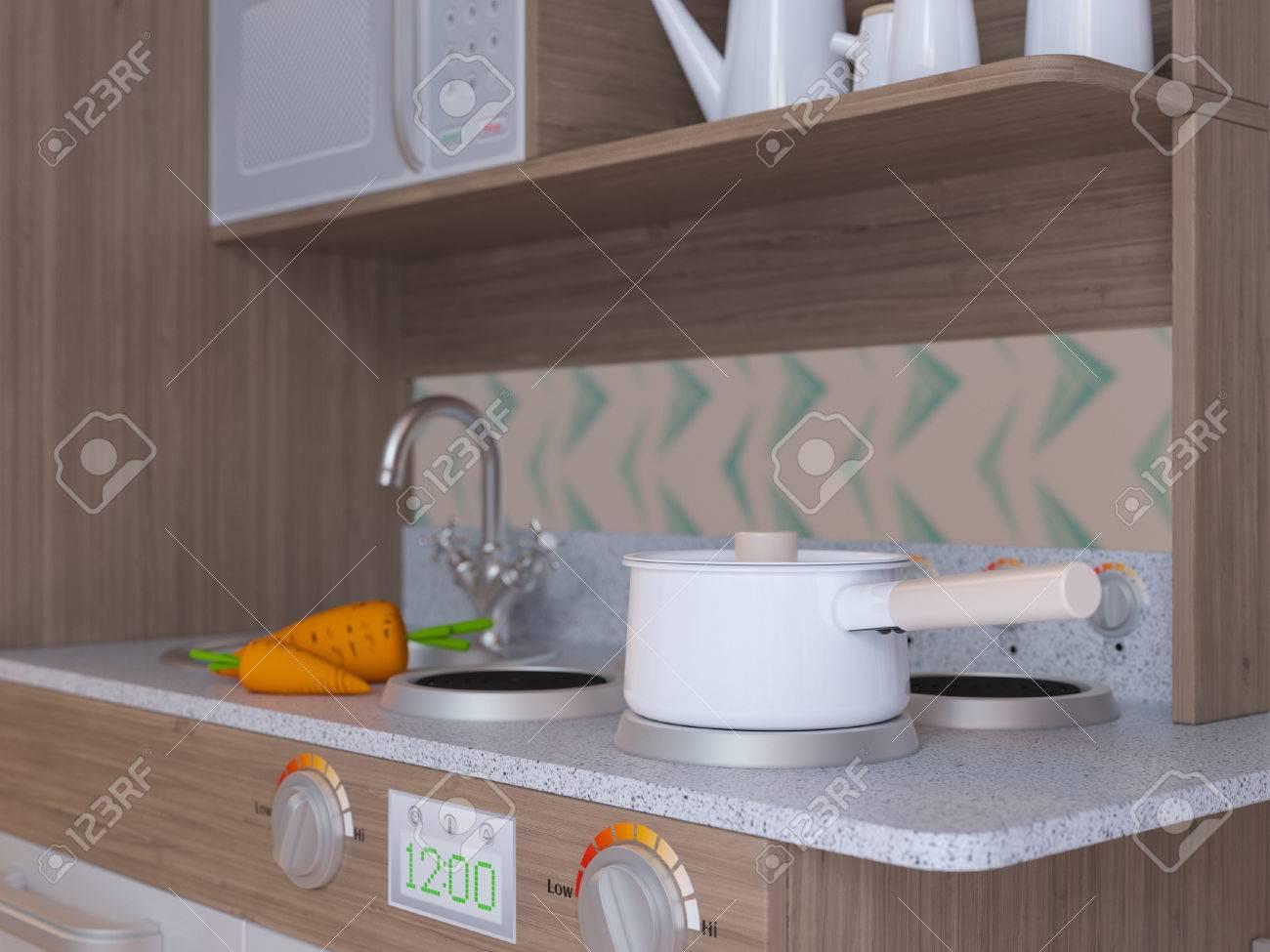 Kinder Küche Design Interieur Für Das Kochen Vorgeben Spiel Mit ...