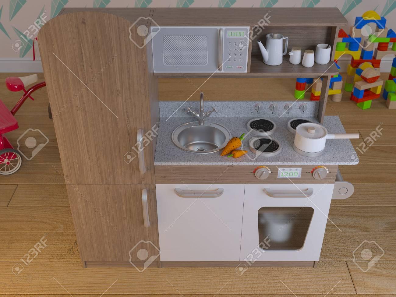 Los niños cocina diseño interior para cocinar pretenden juego conjunto con  accesorios. 3d ilustración niños cocina playset inteligente. Render imagen