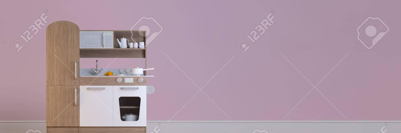 Panorama interior de diseño de cocina infantil para cocinar juego de  simulación con accesorios. 3d ilustración niños cocina playset inteligente.  ...