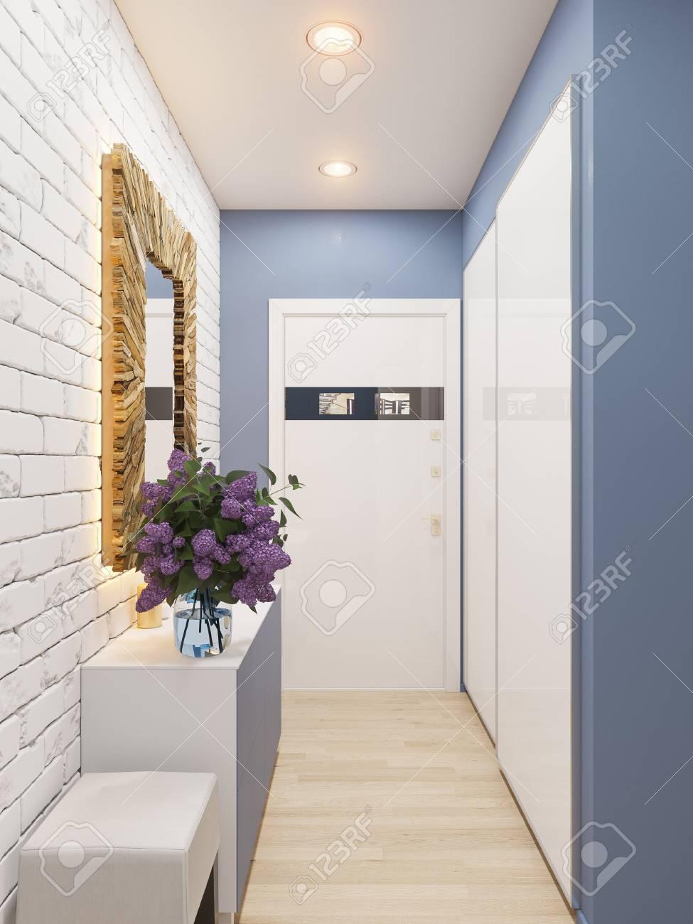 Illustration 3D de la décoration intérieure d\'un appartement de style  scandinave. Visualisation architecturale du couloir intérieur en couleurs  ...