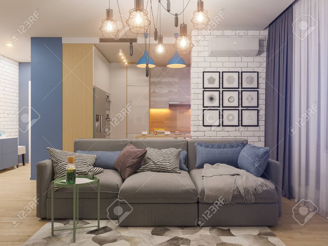 3D illustration salon et cuisine design d\'intérieur. Studio moderne dans le  style minimaliste scandinave