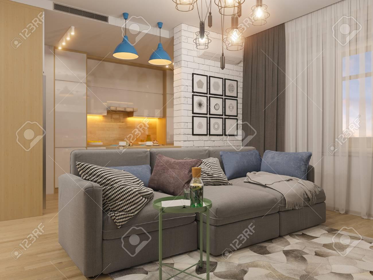 3D Illustration Salon Et Cuisine Design D\'intérieur. Studio Moderne ...