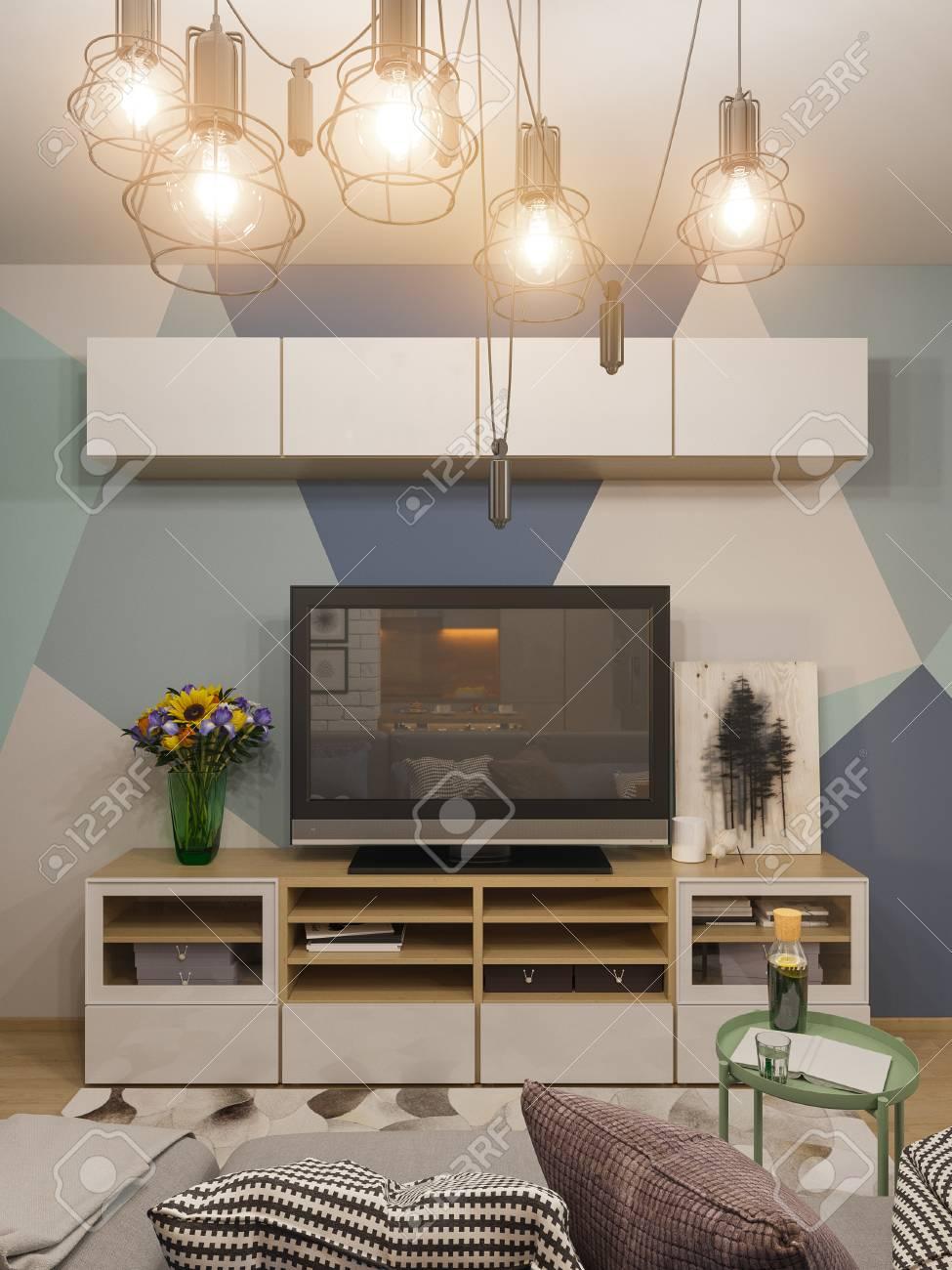 3D Illustration Salon Design D\'intérieur. Studio Moderne Dans Le ...