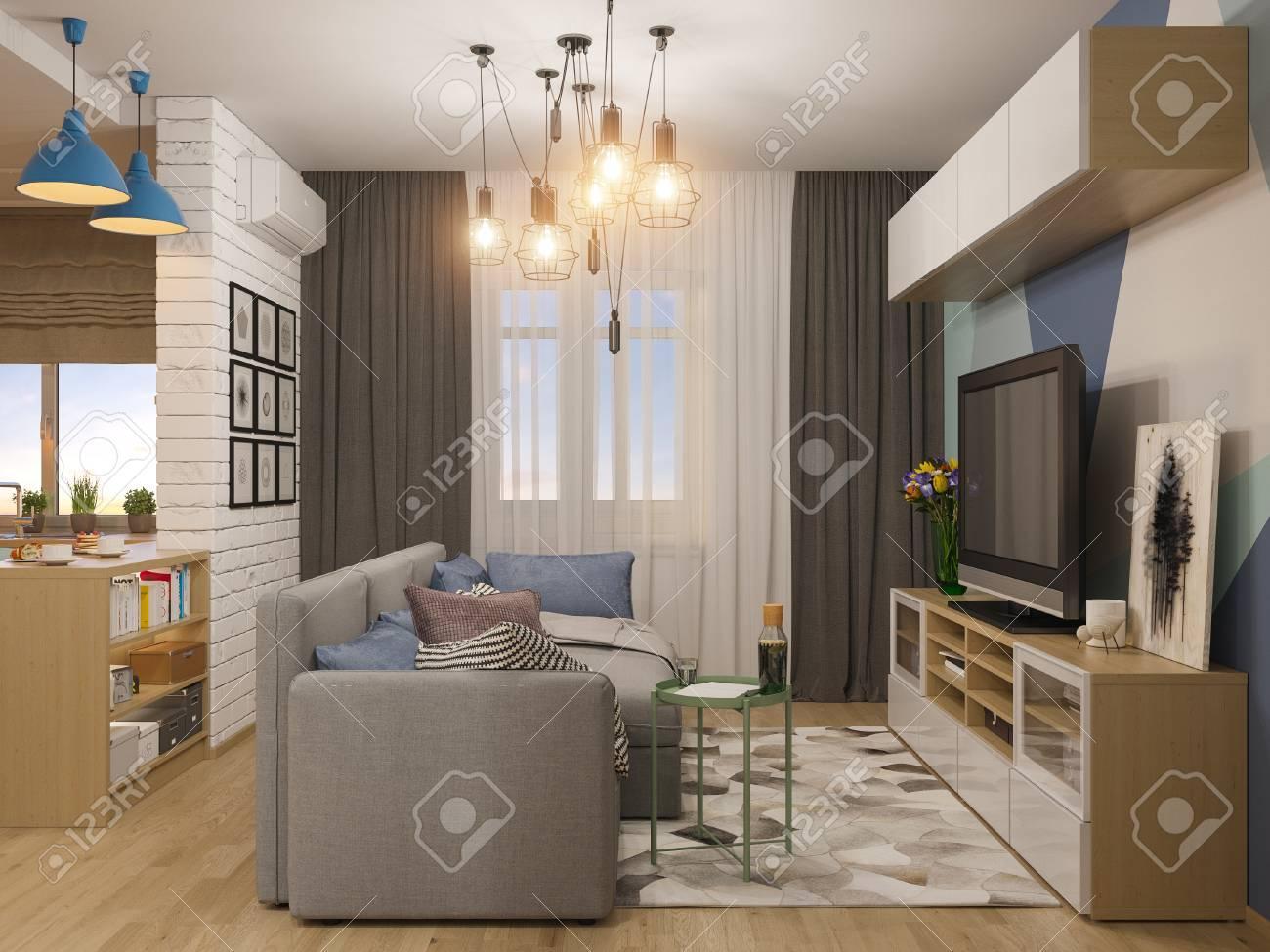 3D-Darstellung Wohnzimmer Und Küche Interieur. Moderne Studio ...