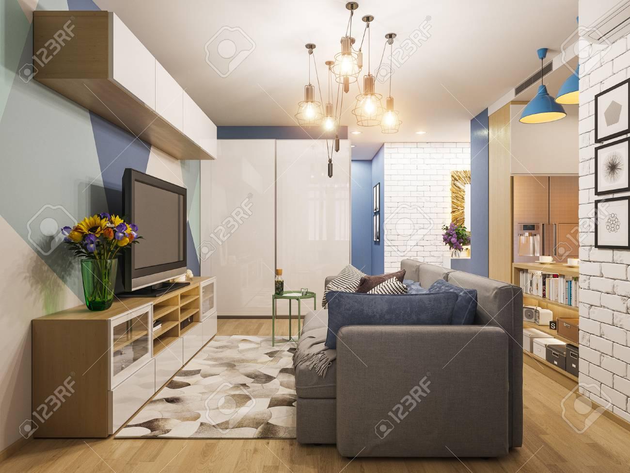 Interior Design Illustrazione Soggiorno E Cucina 3d. Moderno ...