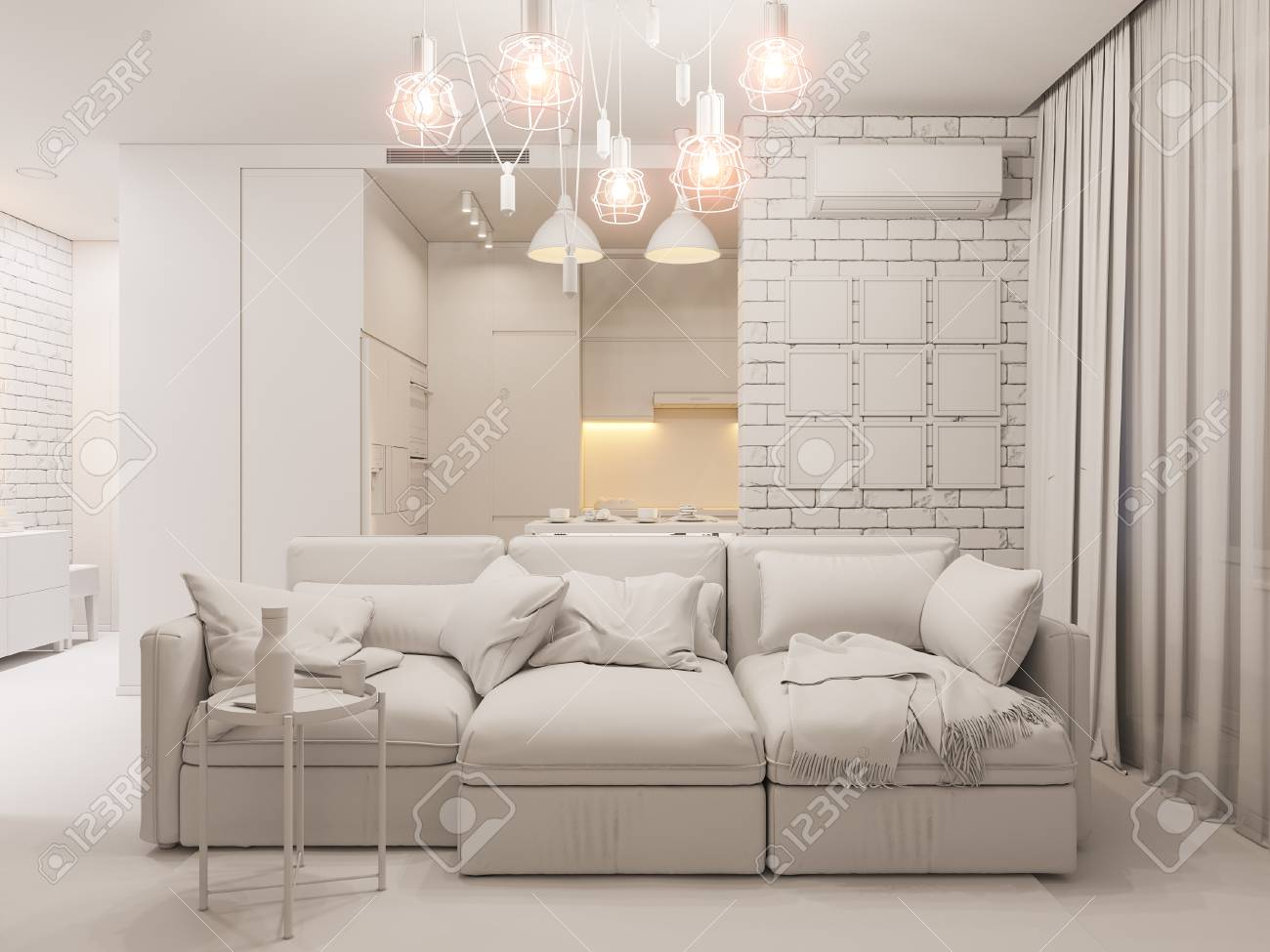 3D illustration salon et cuisine design d\'intérieur. Studio moderne dans le  style minimaliste scandinave ambiant occlusion