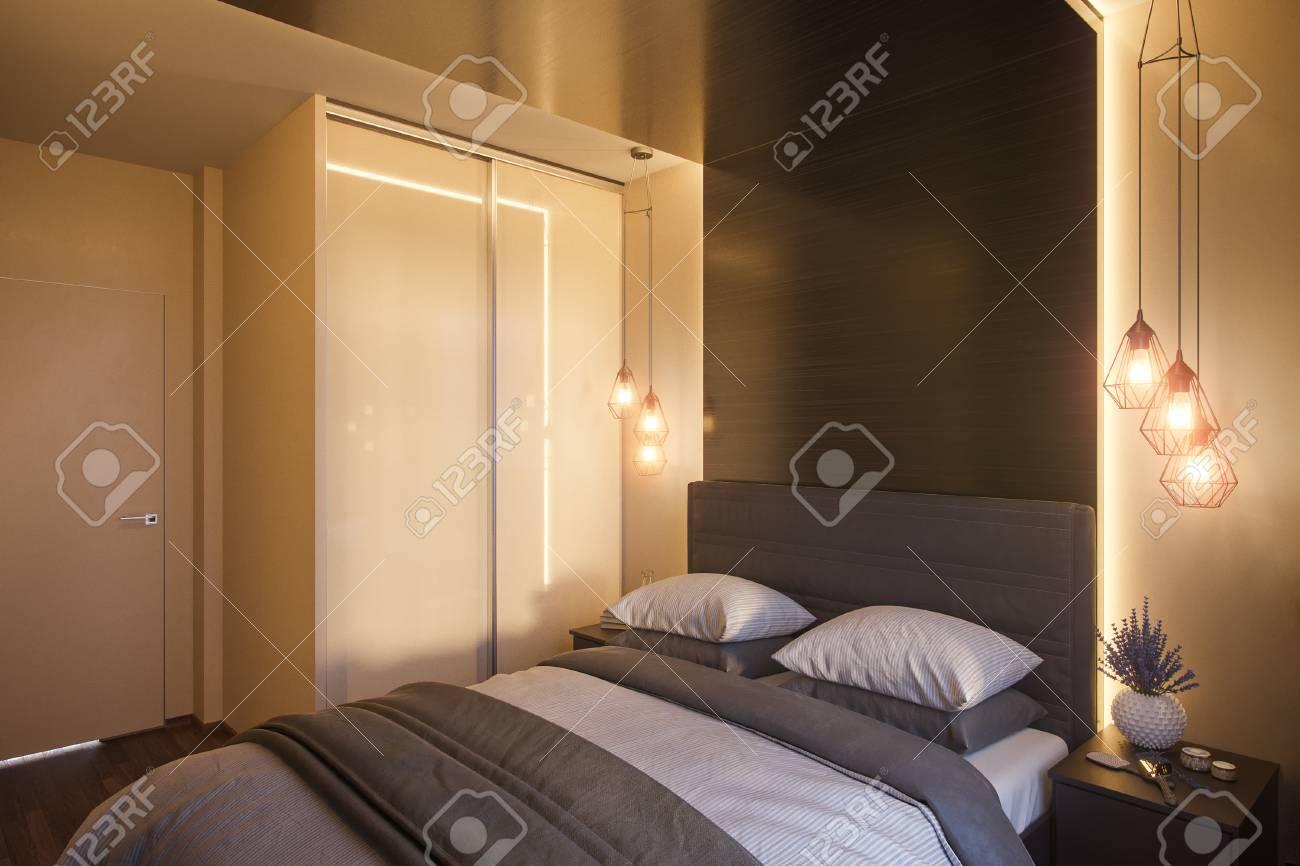 Illustration 3D d\'un design d\'intérieur de chambre à coucher dans un style  moderne scandinave. Rendu intérieur pour le catalogue avec de vrais ...