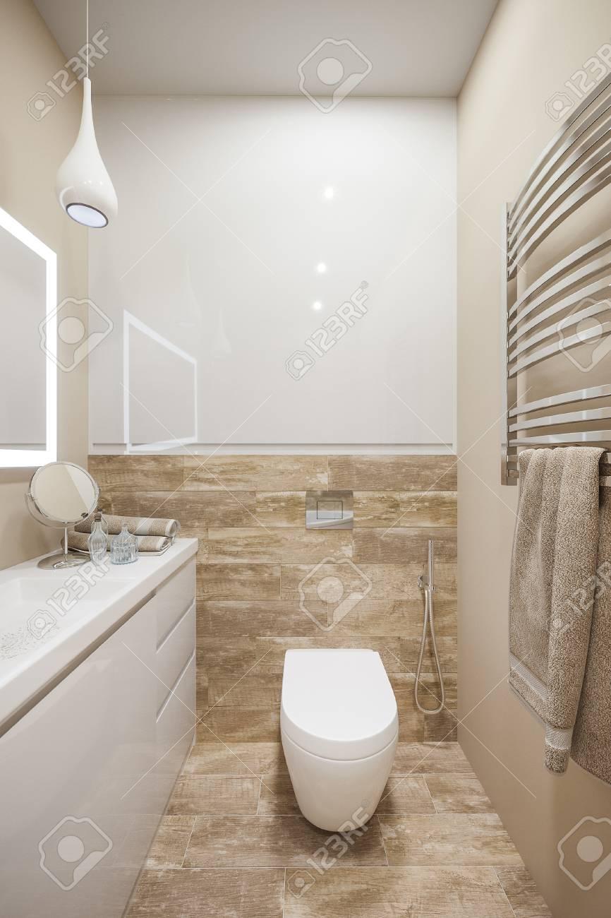 Illustration 3D de l\'intérieur de la salle de bain dans un style moderne  avec une baignoire d\'angle. Le design intérieur Render est exécuté en  couleur ...