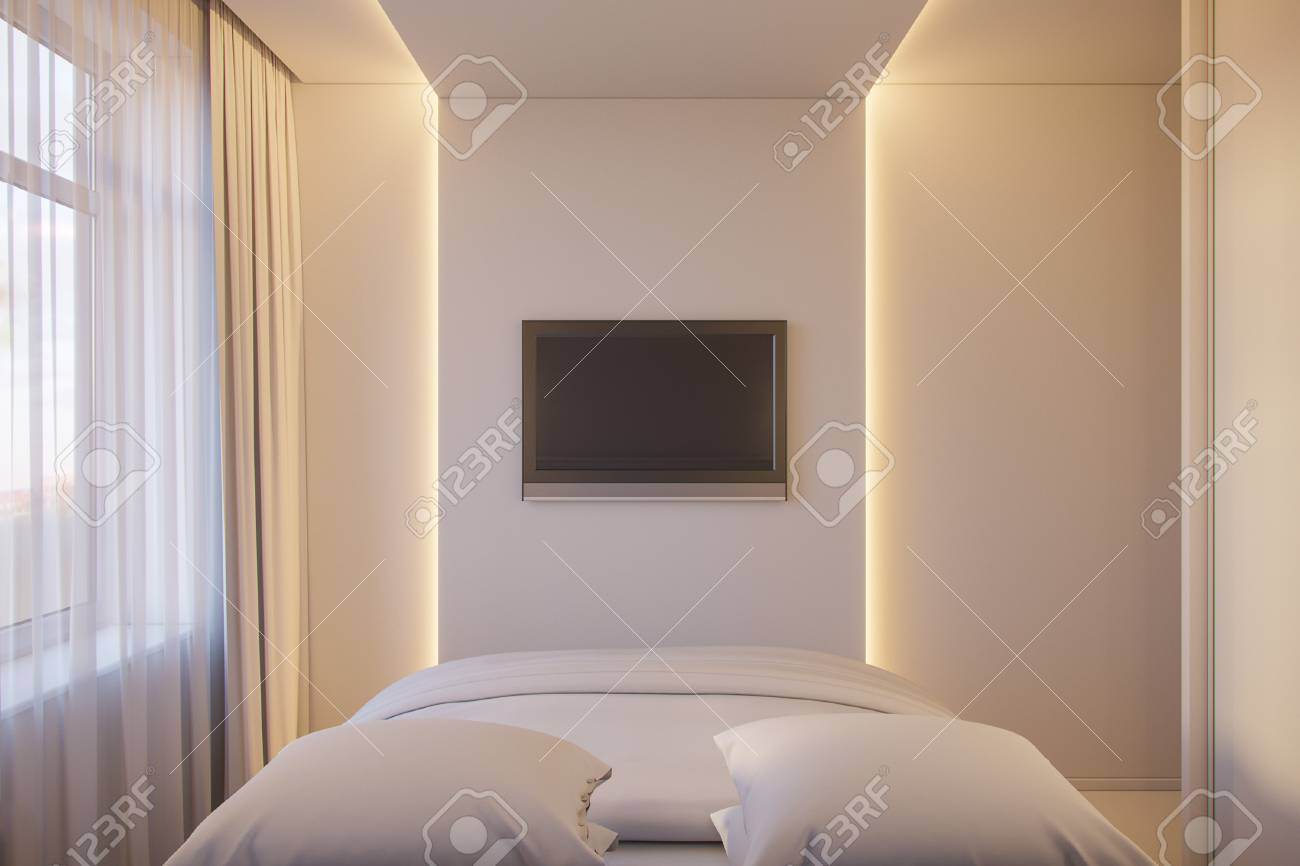 Stili Di Camere Da Letto illustrazione 3d di un interior design di una camera da letto minimalista  bianca. stile di interior design scandinavo.