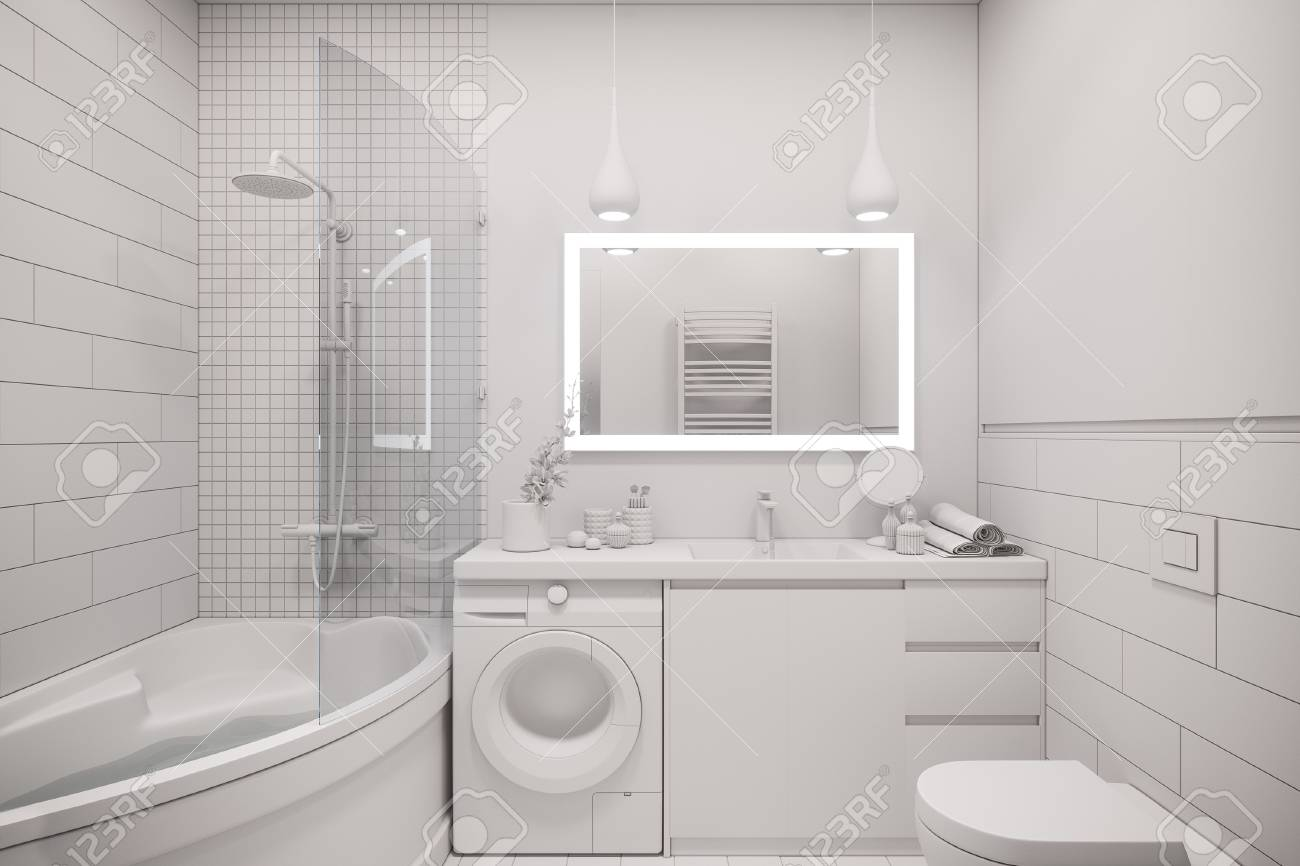 3d Illustration Of An Interior Design Of A White Minimalist Bathroom Stock Photo Picture And Royalty Free Image Image 90469963