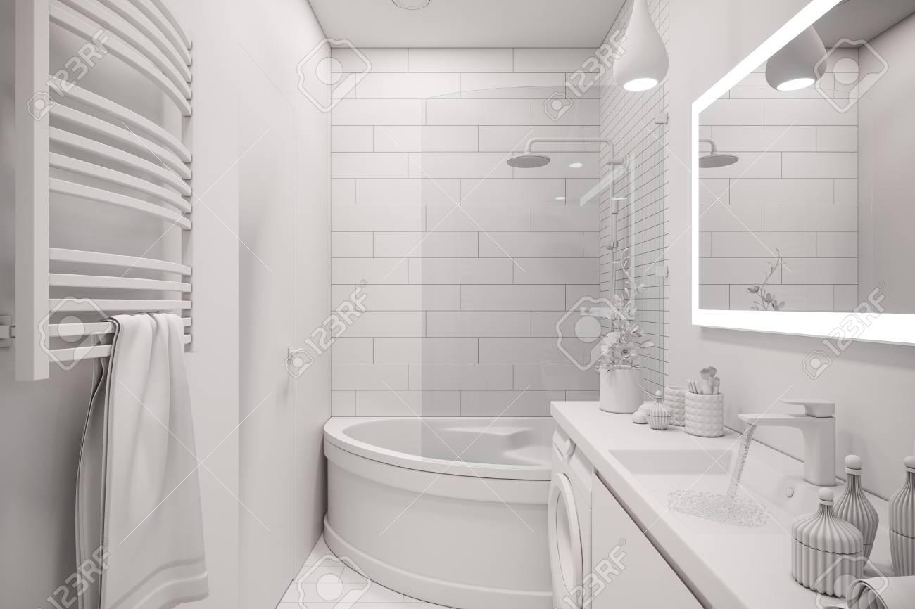Ilustración 3d de un diseño interior de un cuarto de baño minimalista  blanco. Estilo escandinavo moderno del interior. Baño sin texturas y  materiales