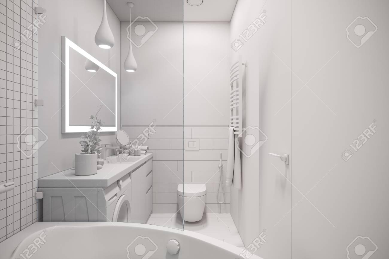 Illustration 3D d\'un design d\'intérieur d\'une salle de bain minimaliste  blanche. Style scandinave moderne d\'intérieur. Salle de bain sans textures  et ...