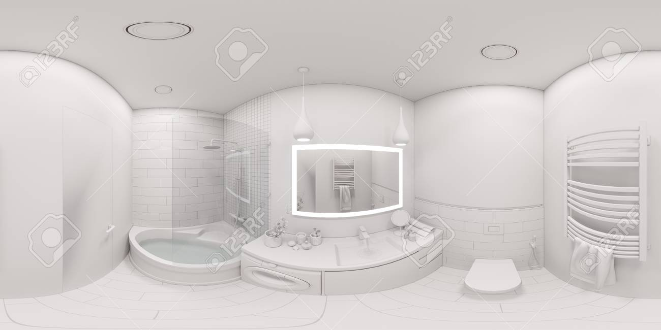 3d Illustration Spherical 360 Degrees Seamless Panorama Of Bathroom Stock Photo Picture And Royalty Free Image Image 90575406