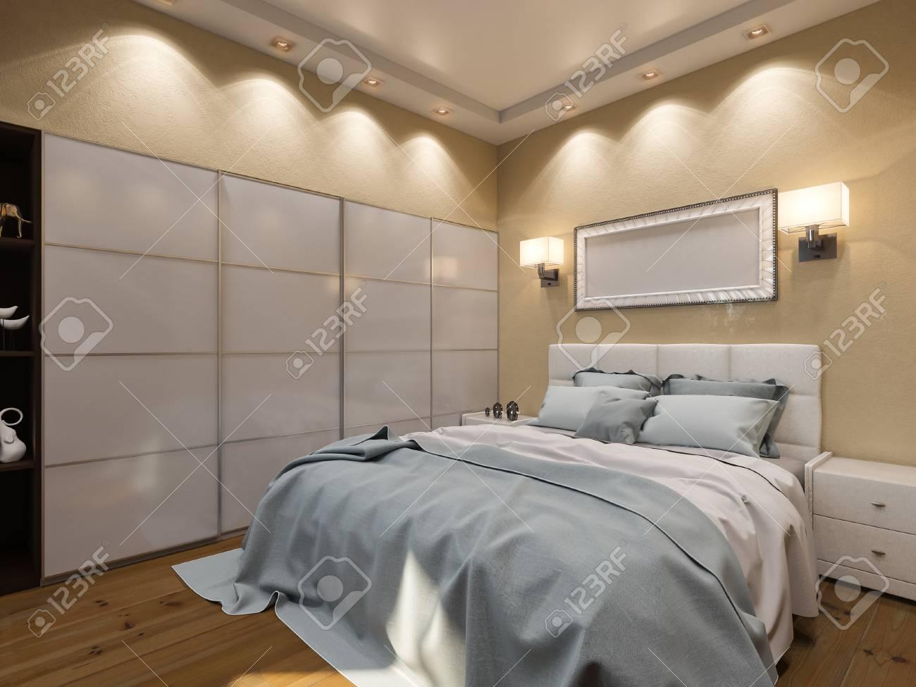 3d rendu de la conception intérieure d & # 39 ; une chambre dans la couleur  beige beige