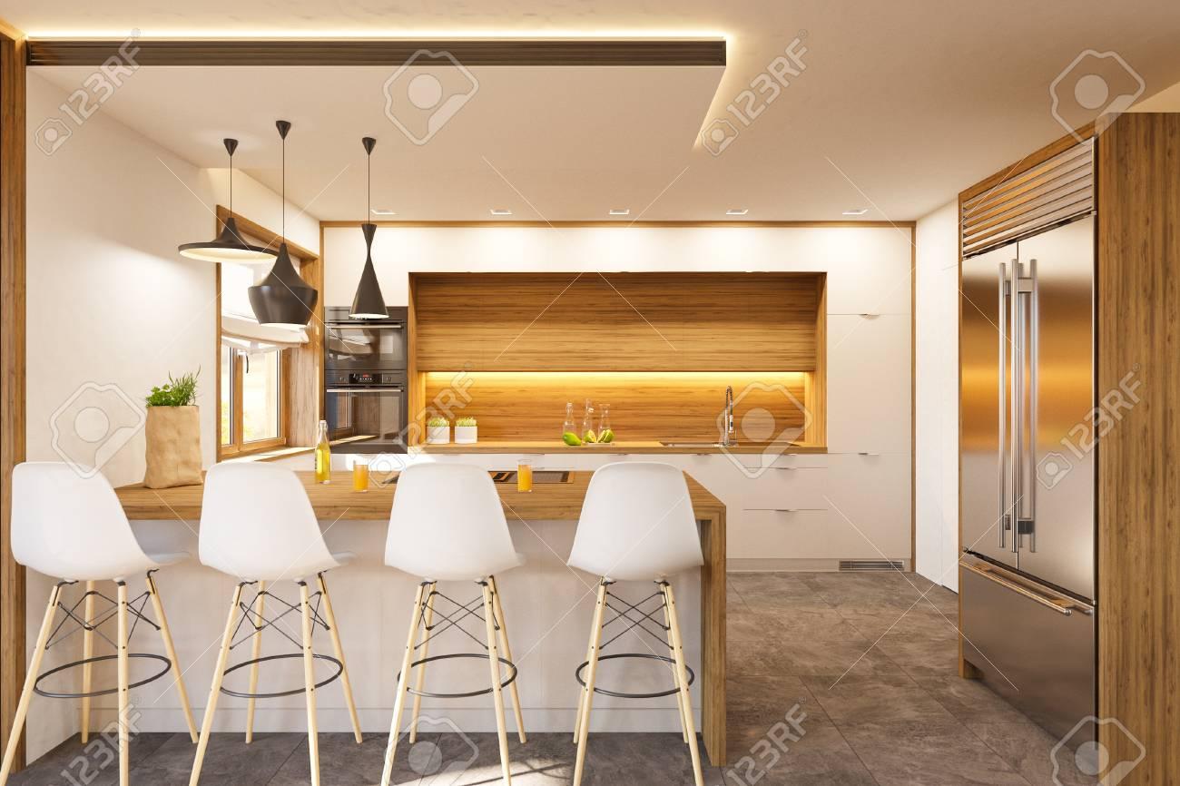 Kitchen Interior Design In White Color Modern Studio Apartment