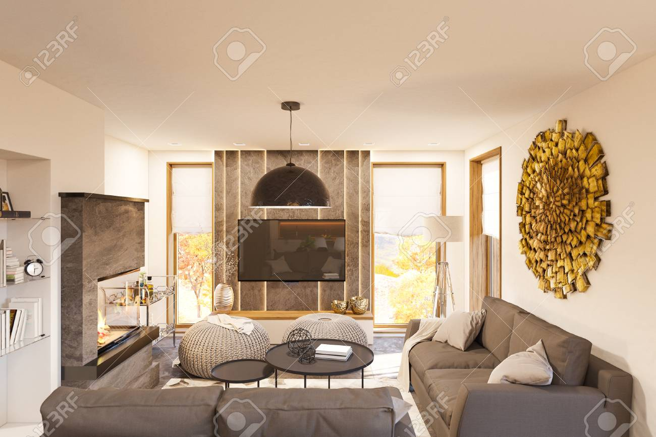 Living Room Interior Design Modern One Bedroom Studio Apartment Stock Photo Picture And Royalty Free Image Image 105579496