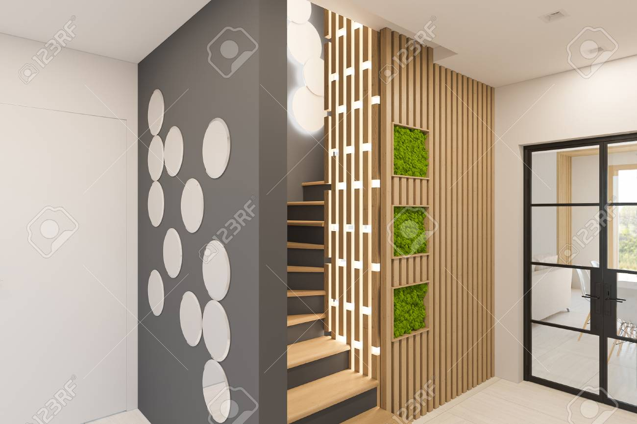 Illustration interior design of a foyer in a private country house staircase in modern scandinavian style ecological style of the interior