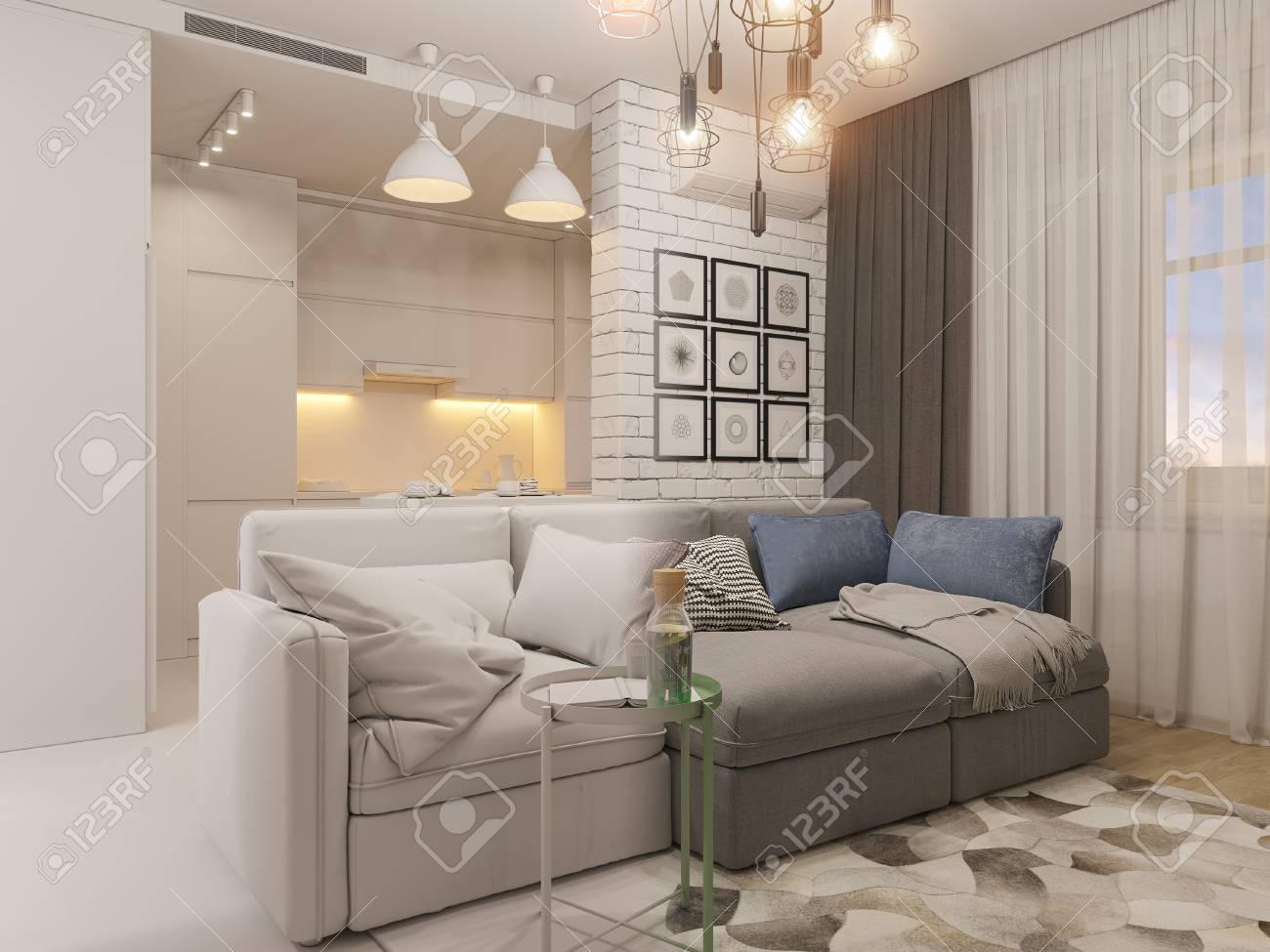 3d Illustration Living Room And Kitchen Interior Design. Modern ...