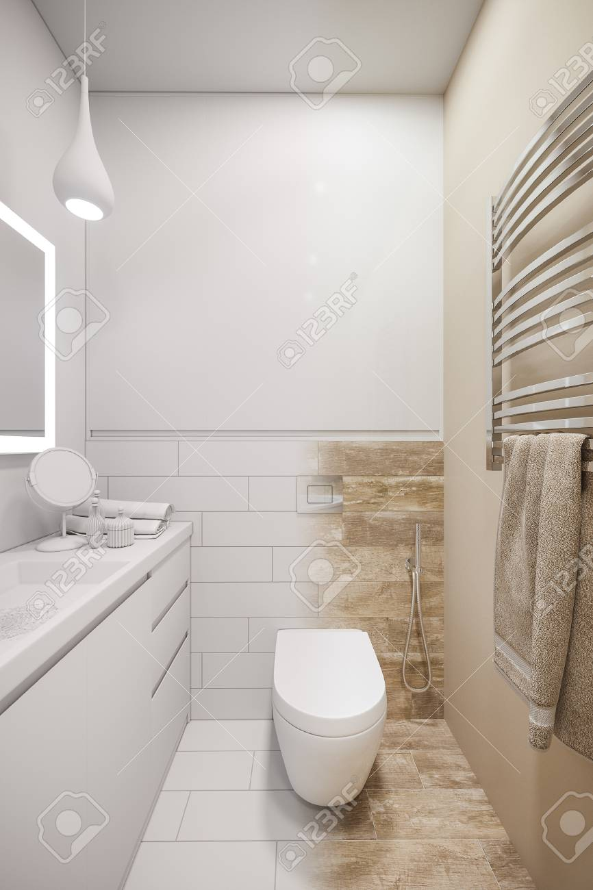 3d Illustration Of An Interior Design Of A White Minimalist Bathroom Stock Photo Picture And Royalty Free Image Image 112438315