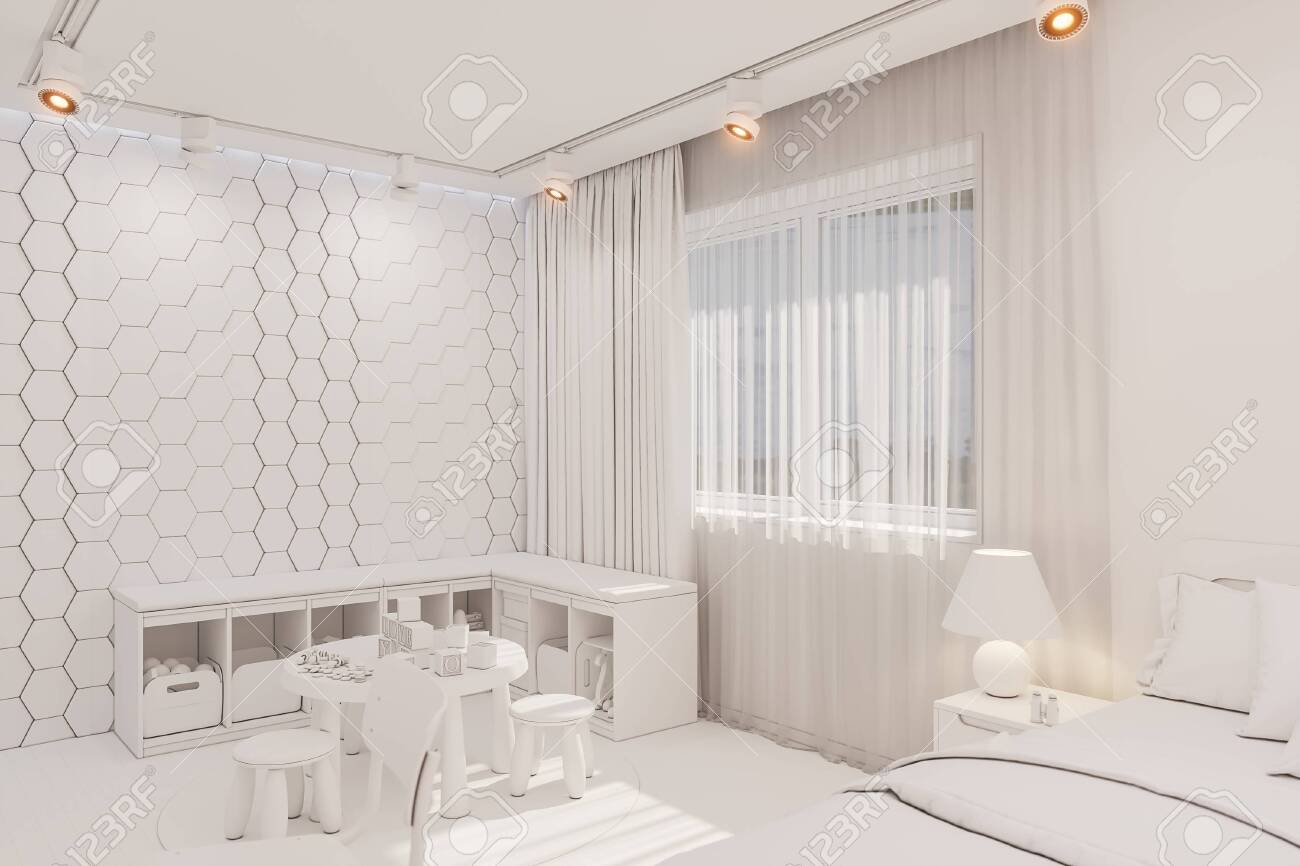 3d Render Of The Kid Bedroom In White Color Visualization Of Stock Photo Picture And Royalty Free Image Image 138962446