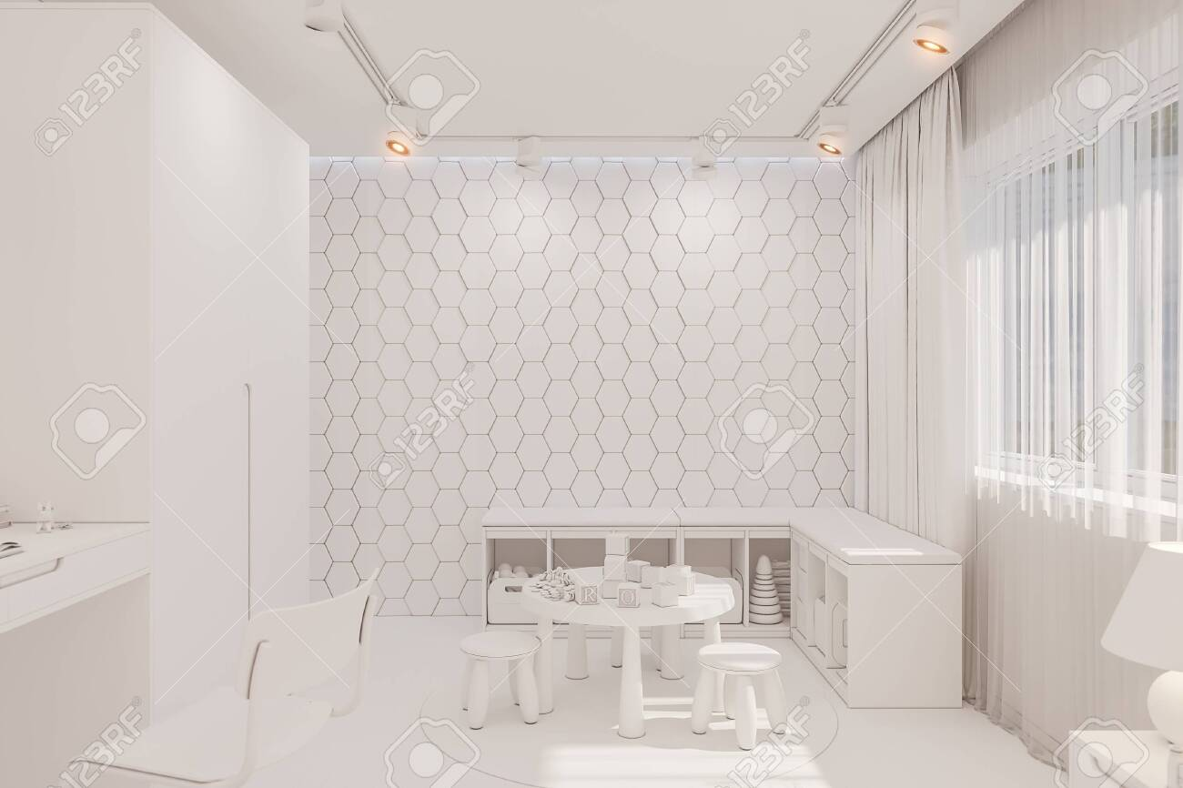 3d Render Of The Kid Bedroom In White Color Visualization Of Stock Photo Picture And Royalty Free Image Image 138962501