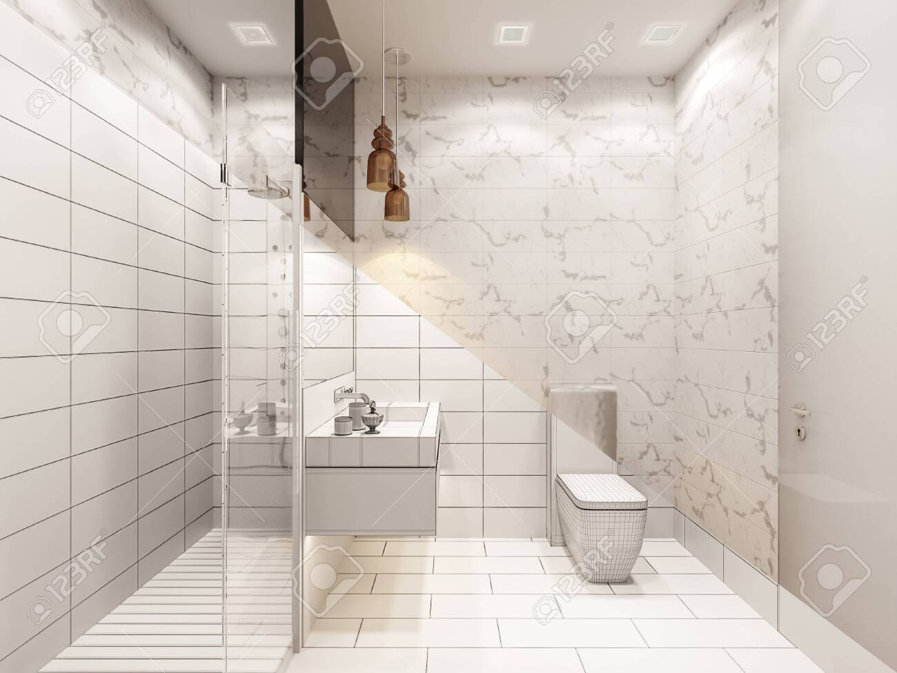 3d Render Of The Interior Of The Bathroom With Shower Illustration Stock Photo Picture And Royalty Free Image Image 141918353