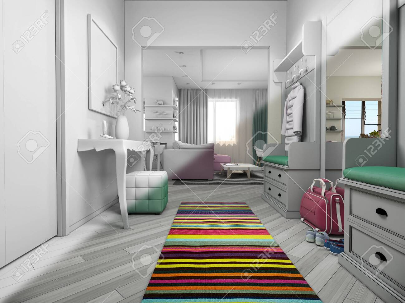 3d Render Of Small Apartments In Pastel Colors Interor Design Stock Photo Picture And Royalty Free Image Image 144311341