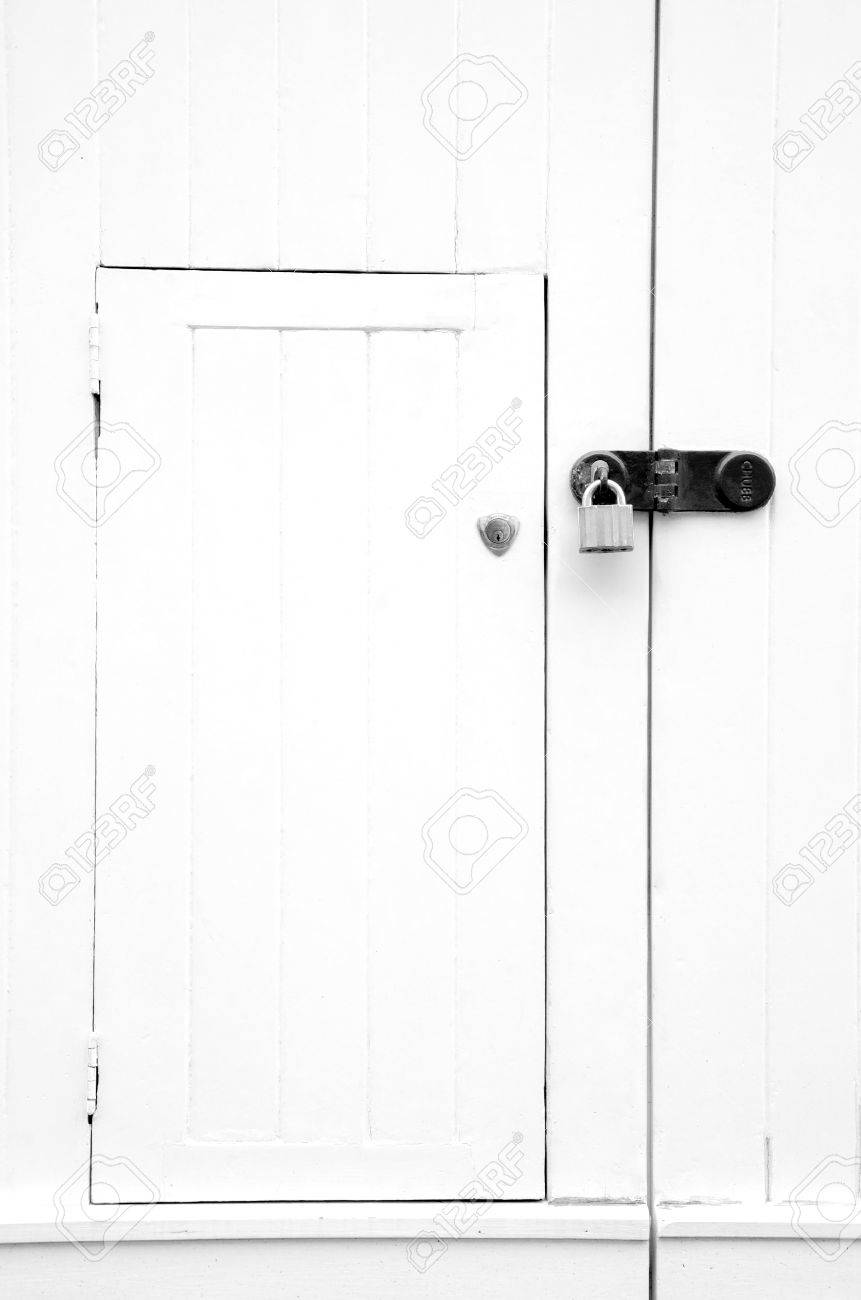 Bright White Wooden Door With Padlock Old Surface Texture Stock Photo