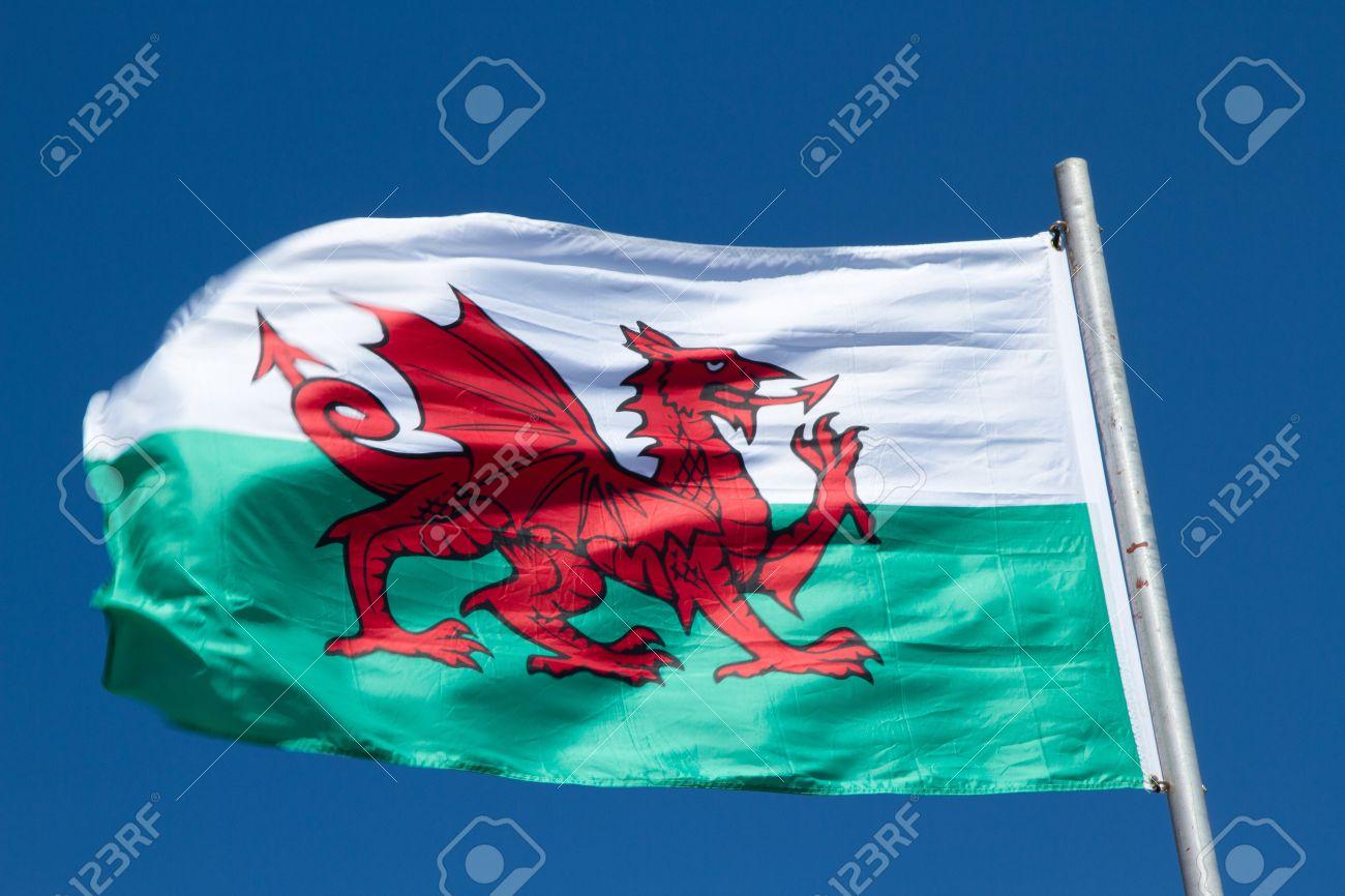 banque dimages drapeau gallois avec un dragon rouge sur vert et blanc flotte dans le vent contre un ciel bleu
