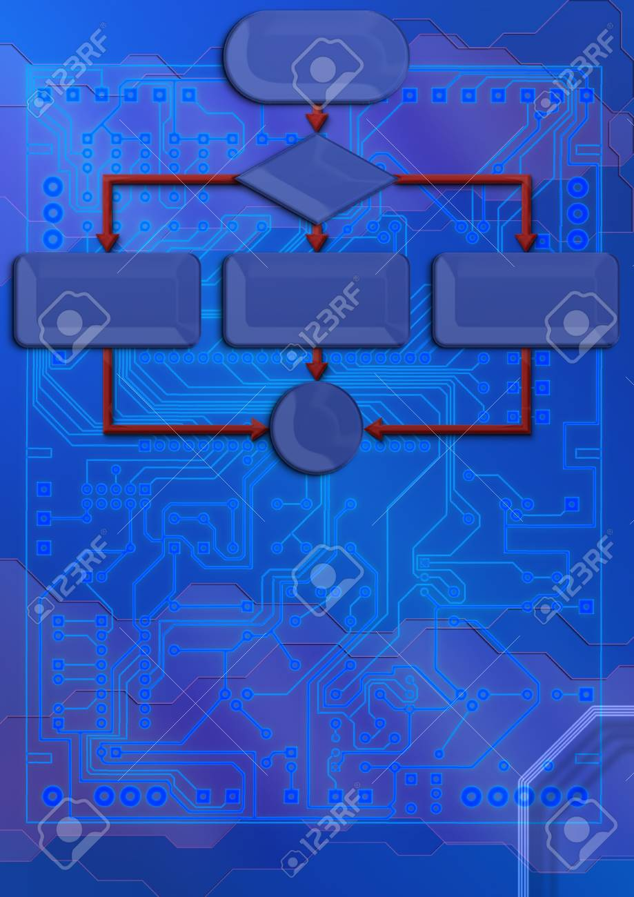 Technical Backdrop With Blueprint Circuit Board Stock Photo, Picture ...