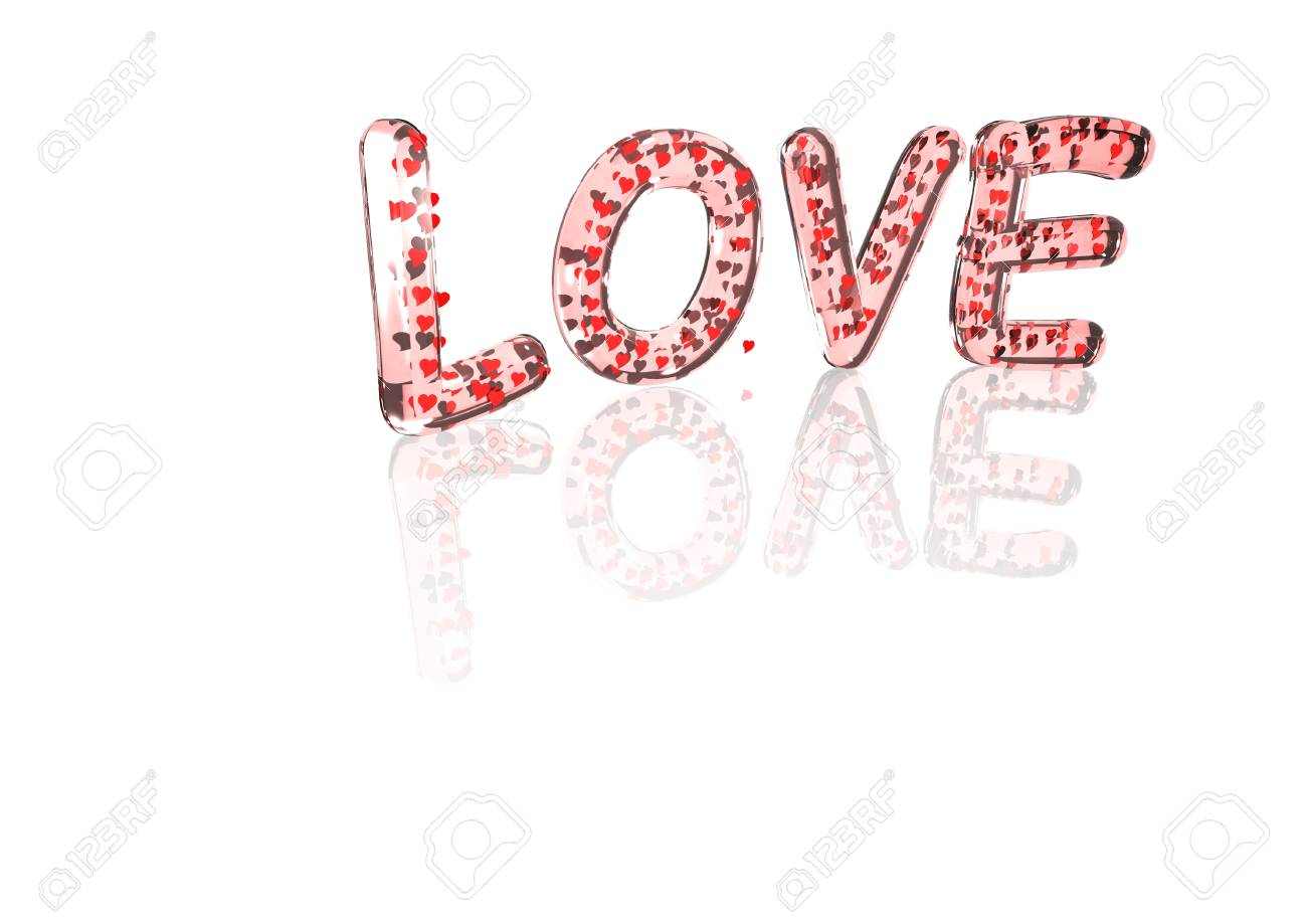 Word Love Made From Many Hearts Symbols Stock Photo Picture And