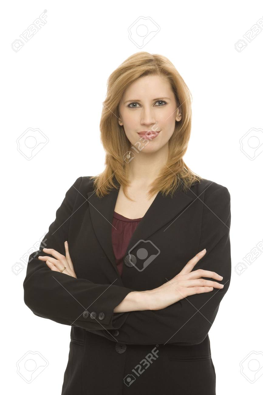 Businesswoman in a suit stands confidently against a white background Stock Photo - 1229051