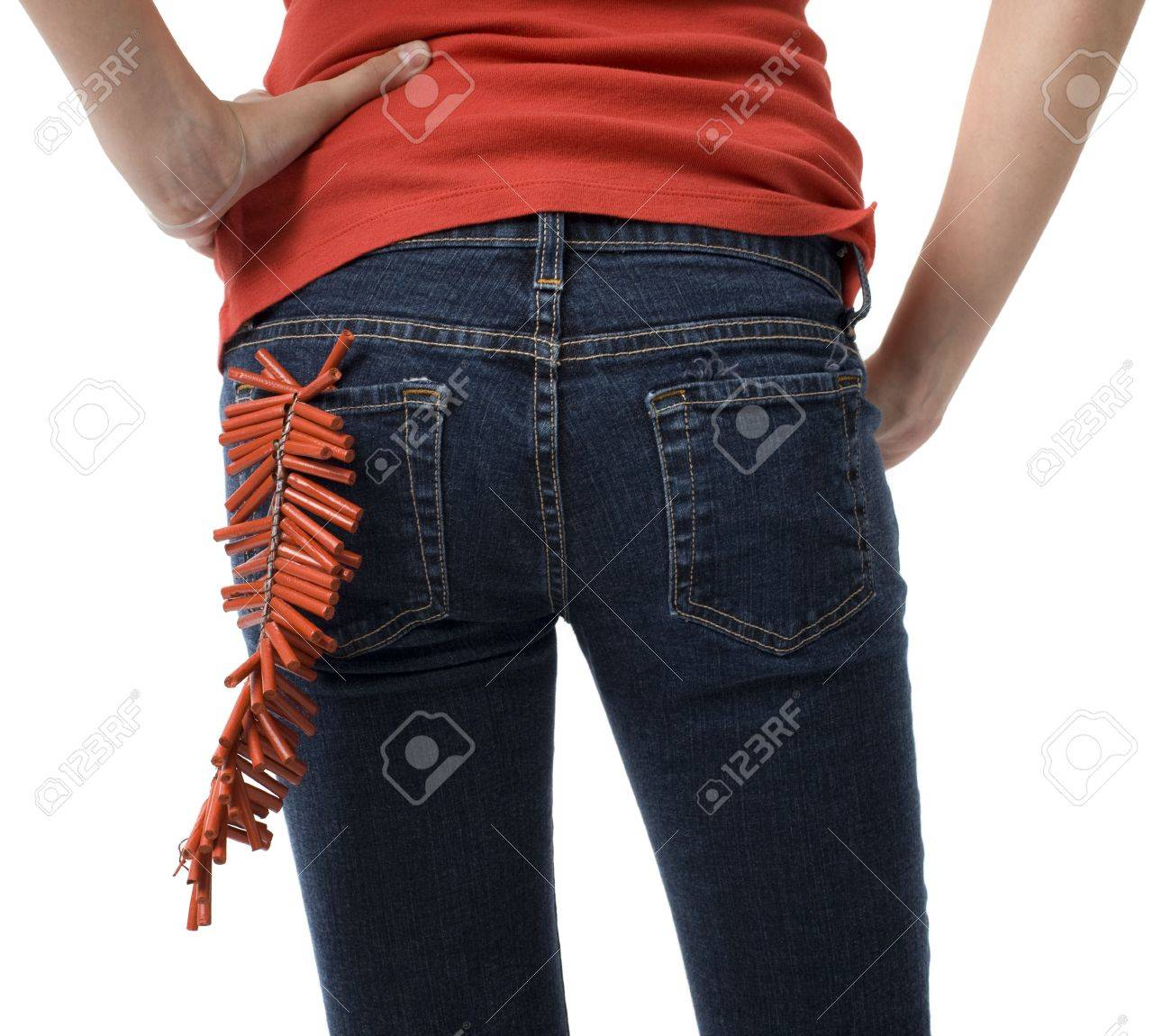 A girl with firecrackers in her back pocket Stock Photo - 3829096