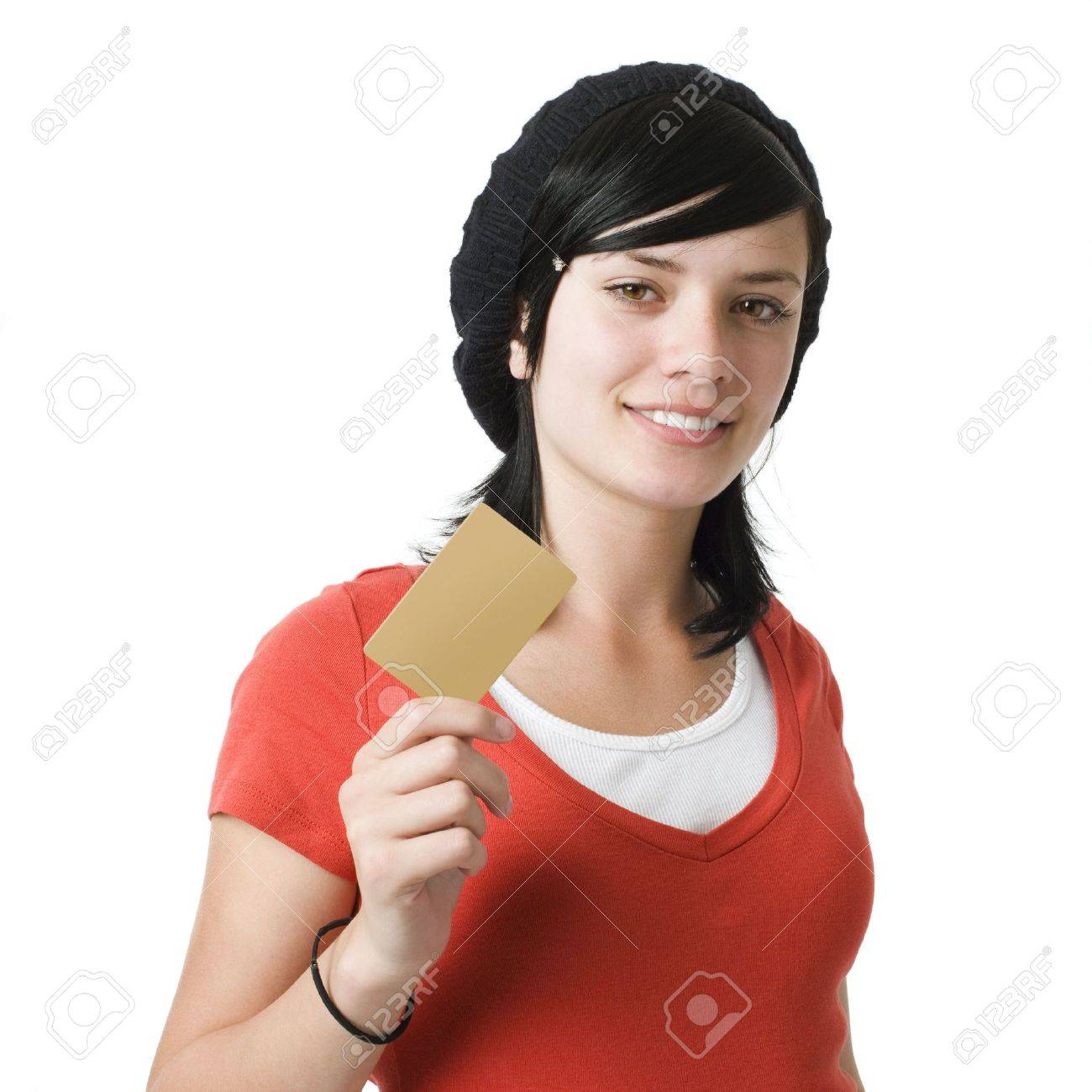 Girl with credit card and smiles Stock Photo - 3829085