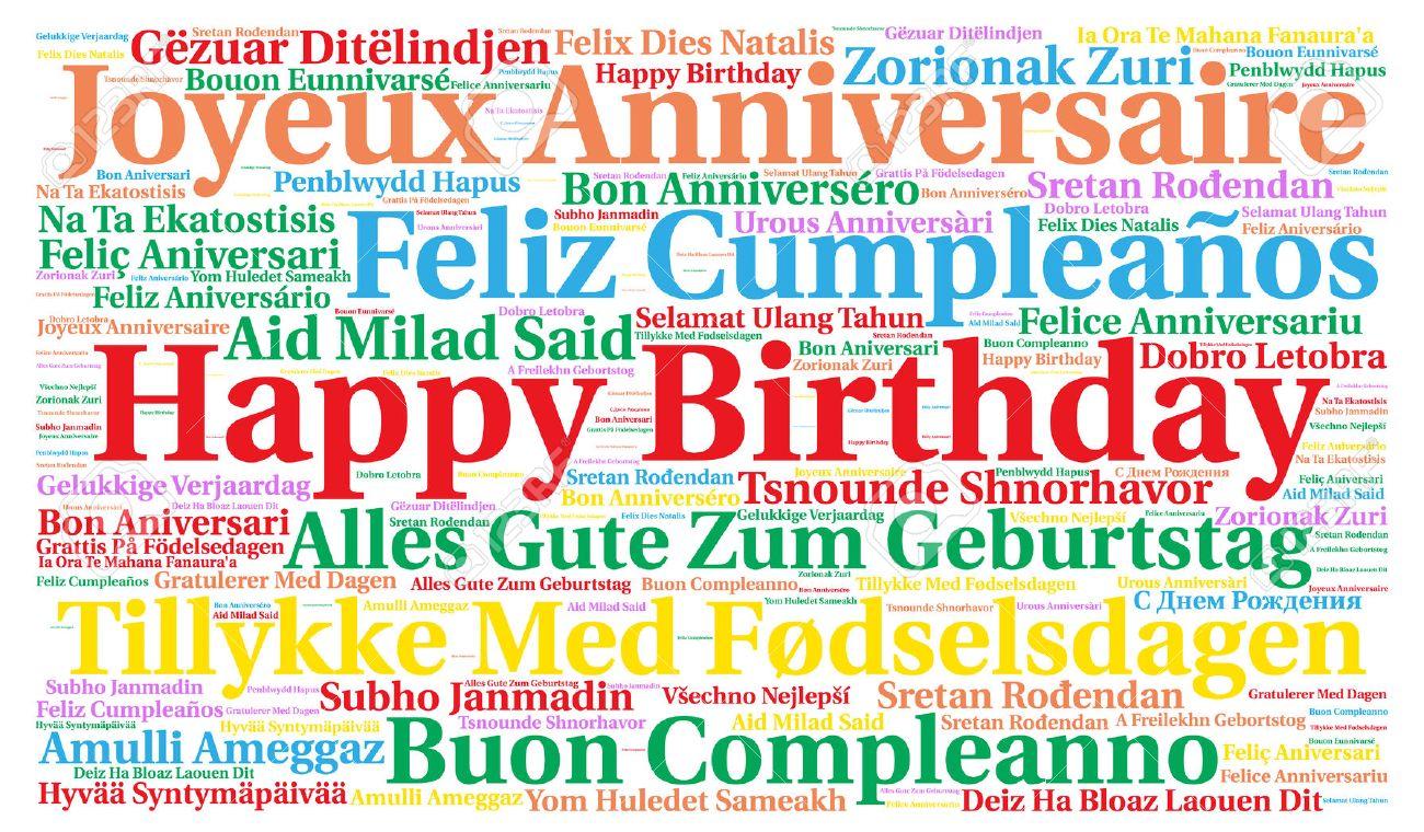 Joyeux Anniversaire Dans Differentes Langues Banque D Images Et
