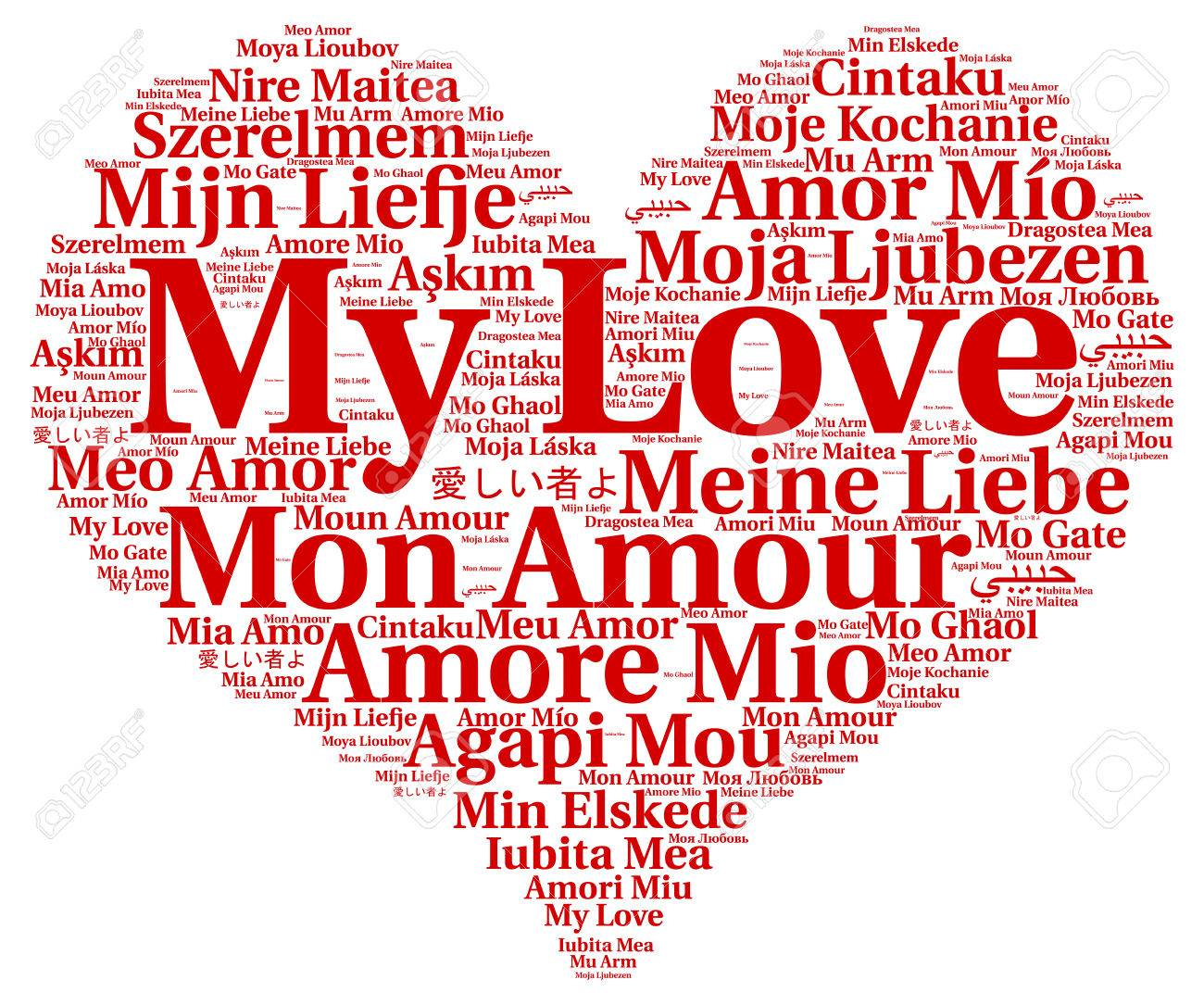 My Love Word Cloud In Different Languages Stock Photo