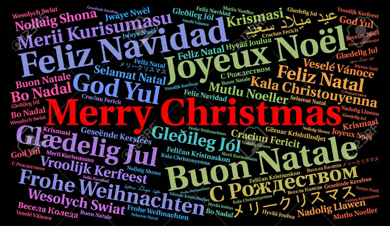Merry Christmas In Different Languages.Merry Christmas In Different Languages Word Cloud