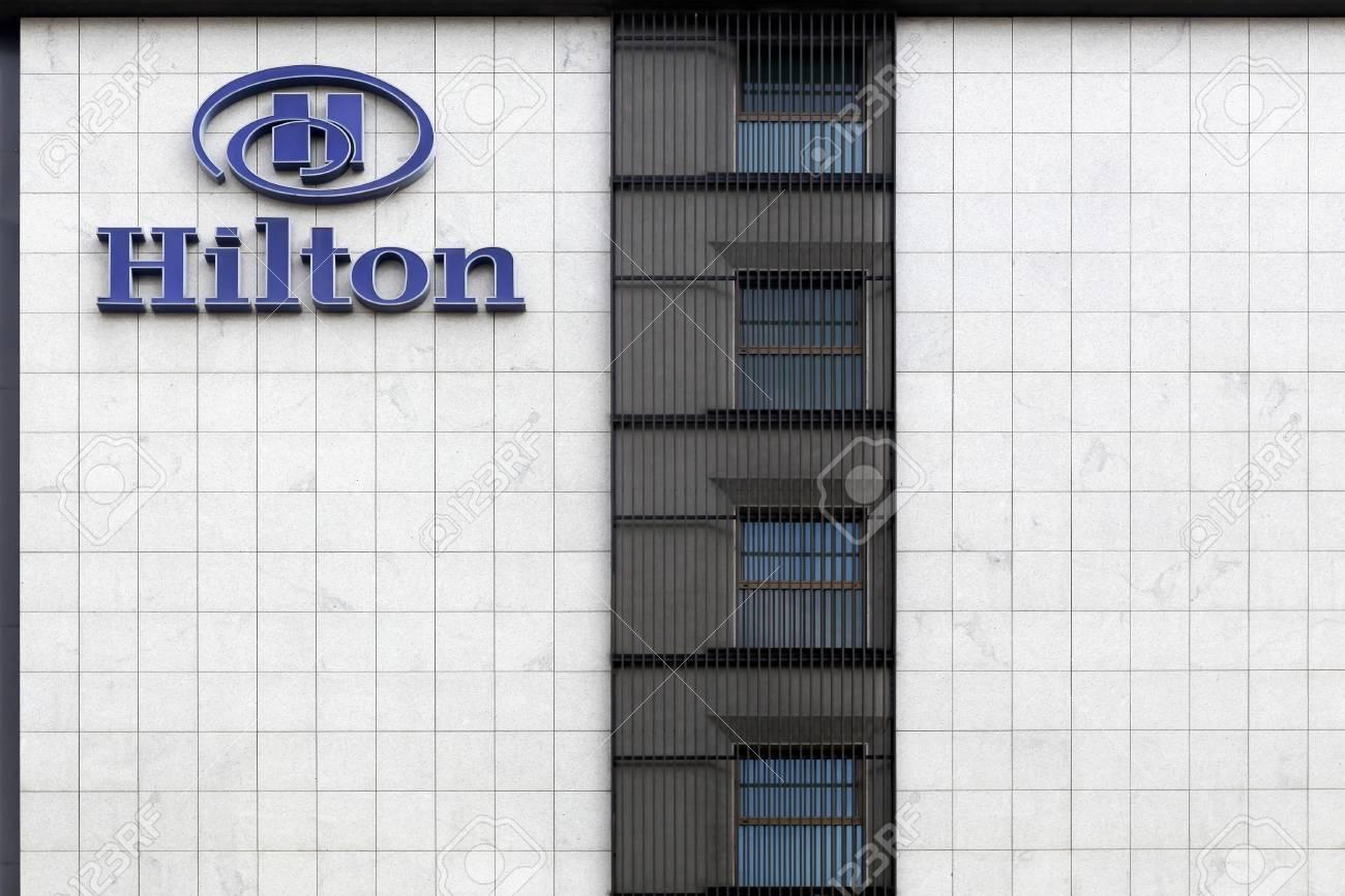 Milan Italy September 16 2016 Facade Of A Hilton Hotel Stock